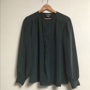 David Matthew black vintage blouse with embroidery